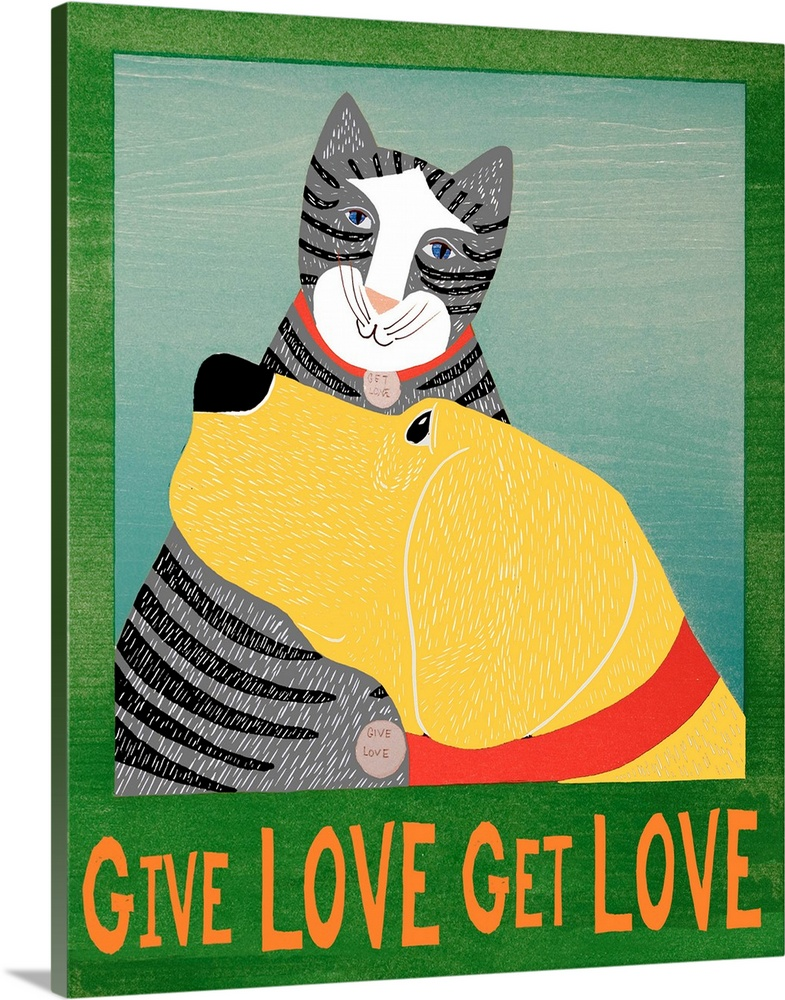 Large Solid-Faced Canvas Print Wall Art Print 24 x 30 entitled Get Love Give Love Banner Yellow dog and grey cat Solid-Faced Canvas Print entitled Get Love Give Love Banner Yellow dog and grey cat.  Multiple sizes available.  Primary colors within this image include Red, Dark Red, Light Yellow, White.  Made in the USA.  All products come with a 365 day workmanship guarantee.  Inks used are latex-based and designed to last.  Canvas is handcrafted and made-to-order in the United States using high quality artist-grade canvas.  Archival inks prevent fading and preserve as much fine detail as possible with no over-saturation or color shifting.