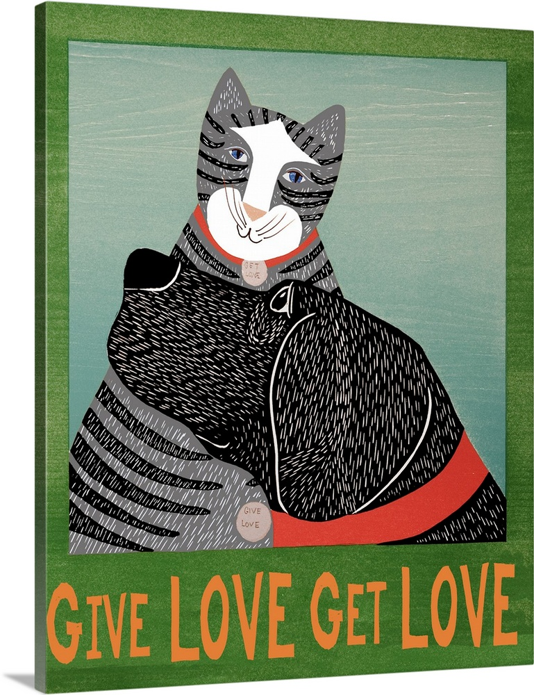 Large Solid-Faced Canvas Print Wall Art Print 24 x 30 entitled Get Love Give Love_Bannerblack and grey cat Solid-Faced Canvas Print entitled Get Love Give Love_Bannerblack and grey cat.  Illustration of a cat and dog snuggling each other with the phrase Give Love Get Love written on the bottom and on their tags.  Multiple sizes available.  Primary colors within this image include Orange, Black, Gray, White.  Made in USA.  Satisfaction guaranteed.  Archival-quality UV-resistant inks.  Canvas is handcrafted and made-to-order in the United States using high quality artist-grade canvas.  Canvas depth is 1.25 and includes a finished backing with pre-installed hanging hardware.