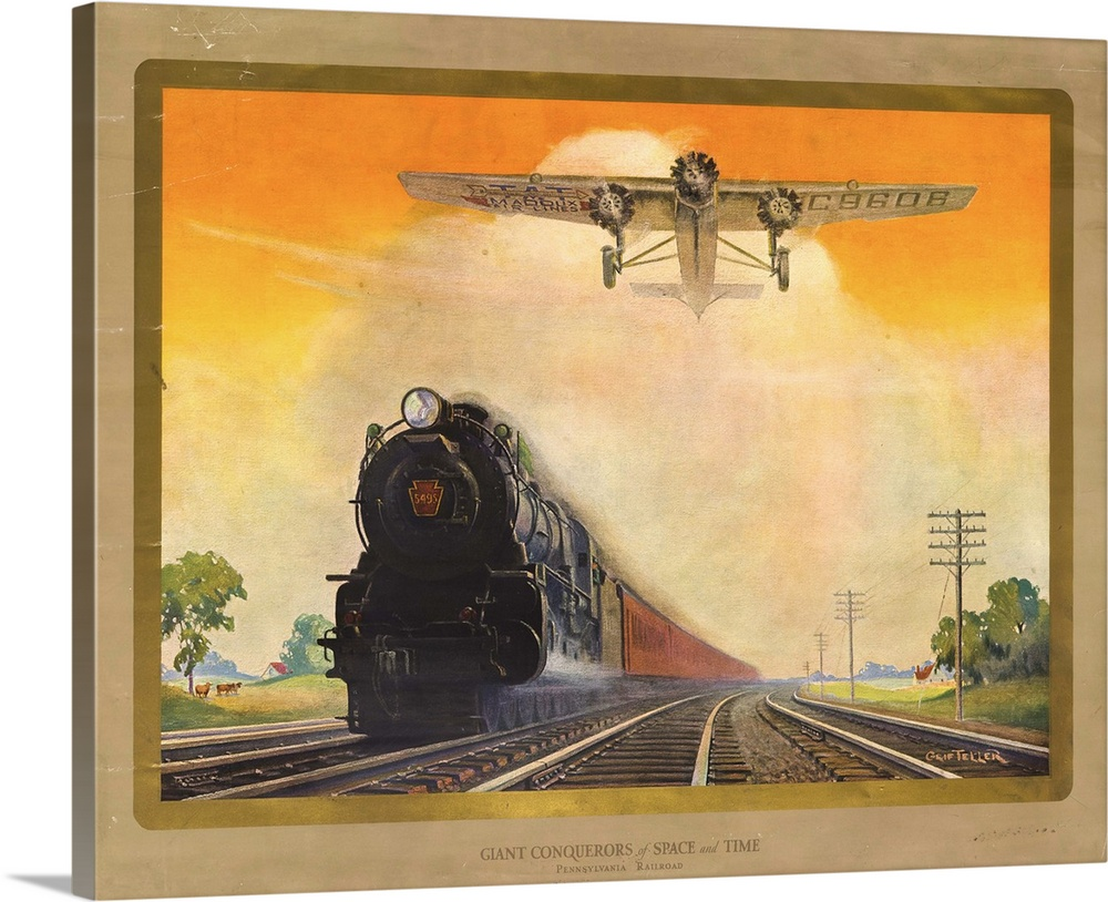Large Solid-Faced Canvas Print Wall Art Print 30 x 24 entitled Giant Conquerers of Space and Time Pennsylvania Railroad Solid-Faced Canvas Print entitled Giant Conquerers of Space and Time Pennsylvania Railroad.  Multiple sizes available.  Primary colors within this image include Orange, Brown, Peach, Dark Gray.  Made in USA.  Satisfaction guaranteed.  Archival-quality UV-resistant inks.  Canvas depth is 1.25 and includes a finished backing with pre-installed hanging hardware.  Featuring a proprietary design, our canvases produce the tightest corners without any bubbles, ripples, or bumps and will not warp or sag over time.