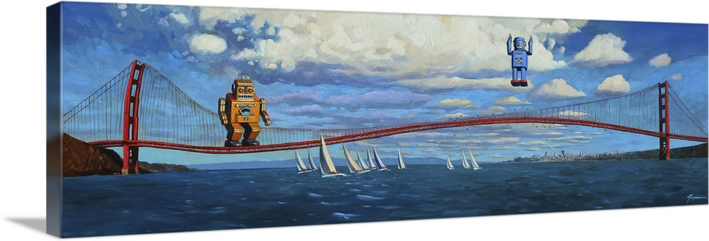 Large Solid-Faced Canvas Print Wall Art Print 48 x 16 entitled Golden Gaters Solid-Faced Canvas Print entitled Golden Gaters.  A contemporary painting of two retro toy robots using the Golden Gate Bridge to jump and bounce into the air.  Multiple sizes available.  Primary colors within this image include Black, Silver, Muted Blue.  Made in USA.  Satisfaction guaranteed.  Inks used are latex-based and designed to last.  Canvas is handcrafted and made-to-order in the United States using high quality artist-grade canvas.  Featuring a proprietary design, our canvases produce the tightest corners without any bubbles, ripples, or bumps and will not warp or sag over time.