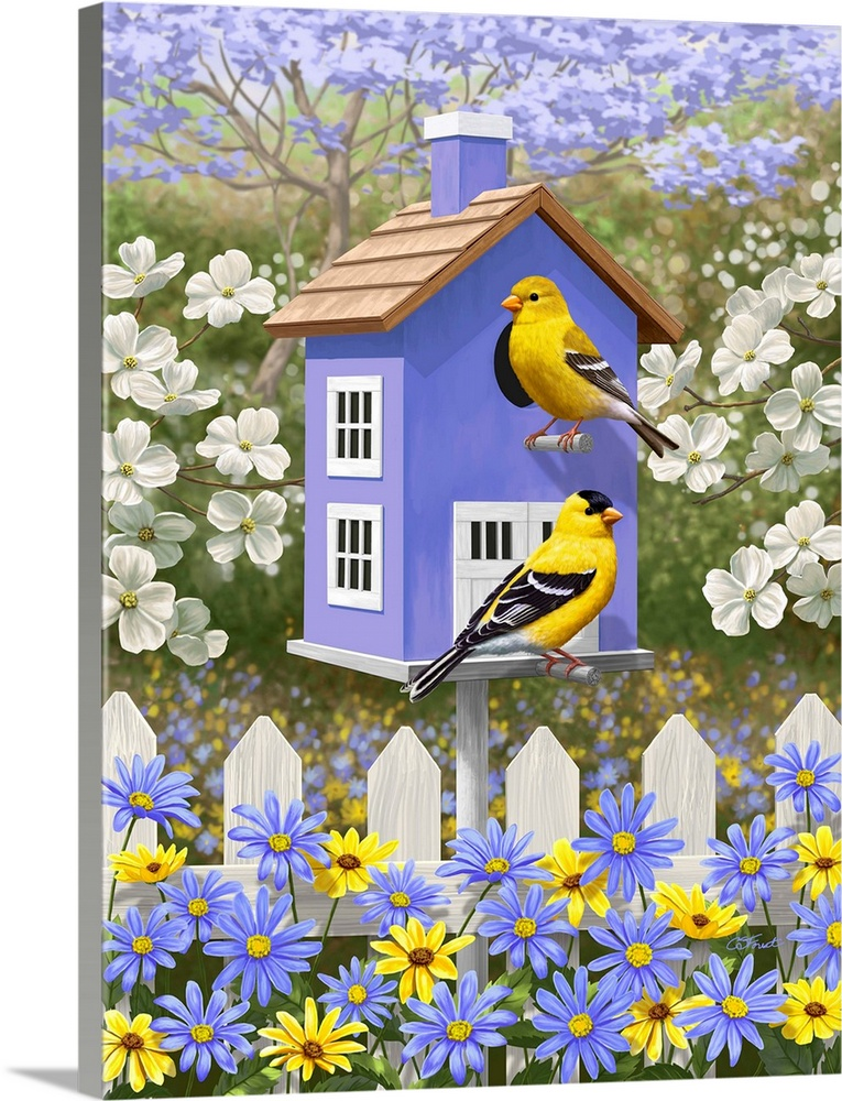 Large Solid-Faced Canvas Print Wall Art Print 30 x 40 entitled Goldfinch Garden Home Solid-Faced Canvas Print entitled Goldfinch Garden Home.  Goldfinches perched on a lavender birdhouse.  Multiple sizes available.  Primary colors within this image include Dark Yellow, Lilac, Dark Forest Green, Pale Blue.  Made in USA.  Satisfaction guaranteed.  Archival-quality UV-resistant inks.  Archival inks prevent fading and preserve as much fine detail as possible with no over-saturation or color shifting.  Canvas is handcrafted and made-to-order in the United States using high quality artist-grade canvas.