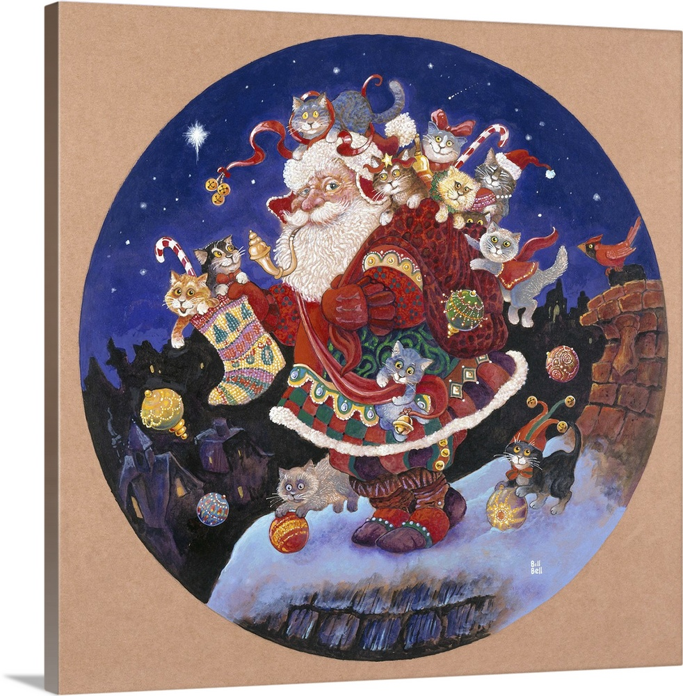 Large Solid-Faced Canvas Print Wall Art Print 20 x 20 entitled Here Comes Santa Claus Solid-Faced Canvas Print entitled Here Comes Santa Claus.  Santa with pack of toys and kittens on his back on the roof next to a chimney.  Multiple sizes available.  Primary colors within this image include Plum, Gray, White, Muted Blue.  Made in USA.  All products come with a 365 day workmanship guarantee.  Inks used are latex-based and designed to last.  Canvas depth is 1.25 and includes a finished backing with pre-installed hanging hardware.  Canvas is handcrafted and made-to-order in the United States using high quality artist-grade canvas.