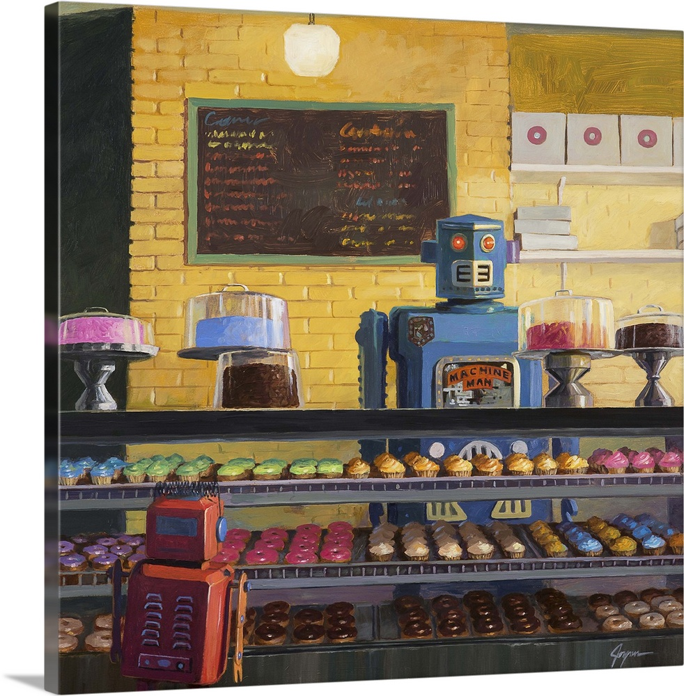 Large Solid-Faced Canvas Print Wall Art Print 20 x 20 entitled Indecision Solid-Faced Canvas Print entitled Indecision.  A contemporary painting of a blue retro toy robot standing behind the counter of a donut shop while a small red robot decides what donut to select.  Multiple sizes available.  Primary colors within this image include Peach, Dark Gray, Light Gray, Gray Blue.  Made in the USA.  All products come with a 365 day workmanship guarantee.  Inks used are latex-based and designed to last.  Archival inks prevent fading and preserve as much fine detail as possible with no over-saturation or color shifting.  Featuring a proprietary design, our canvases produce the tightest corners without any bubbles, ripples, or bumps and will not warp or sag over time.