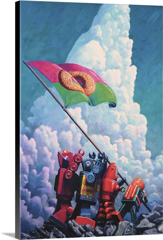 Large Solid-Faced Canvas Print Wall Art Print 20 x 30 entitled Iogima Solid-Faced Canvas Print entitled Iogima.  A contemporary painting of four retro toy robots raising a flag with a donut on it recreating an iconic photograph from WWII.  Multiple sizes available.  Primary colors within this image include Light Yellow, Light Purple, Silver, Gray Blue.  Made in the USA.  Satisfaction guaranteed.  Archival-quality UV-resistant inks.  Archival inks prevent fading and preserve as much fine detail as possible with no over-saturation or color shifting.  Canvas is handcrafted and made-to-order in the United States using high quality artist-grade canvas.