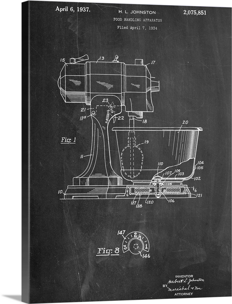 Large Gallery-Wrapped Canvas Wall Art Print 18 x 24 entitled Kitchen Mixer Gallery-Wrapped Canvas entitled Kitchen Mixer.  Black and white diagram showing the parts of a stand mixer.  Multiple sizes available.  Primary colors within this image include Dark Gray Silver.  Made in the USA.  All products come with a 365 day workmanship guarantee.  Inks used are latex-based and designed to last.  Museum-quality artist-grade canvas mounted on sturdy wooden stretcher bars 1.5 thick.  Comes ready to hang.  Canvas is a 65 polyester 35 cotton base with two acrylic latex primer basecoats and a semi-gloss inkjet receptive topcoat.