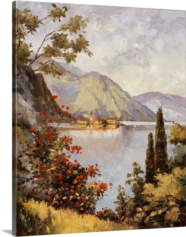 Solid-Faced Canvas Print Wall Art entitled Lake Como