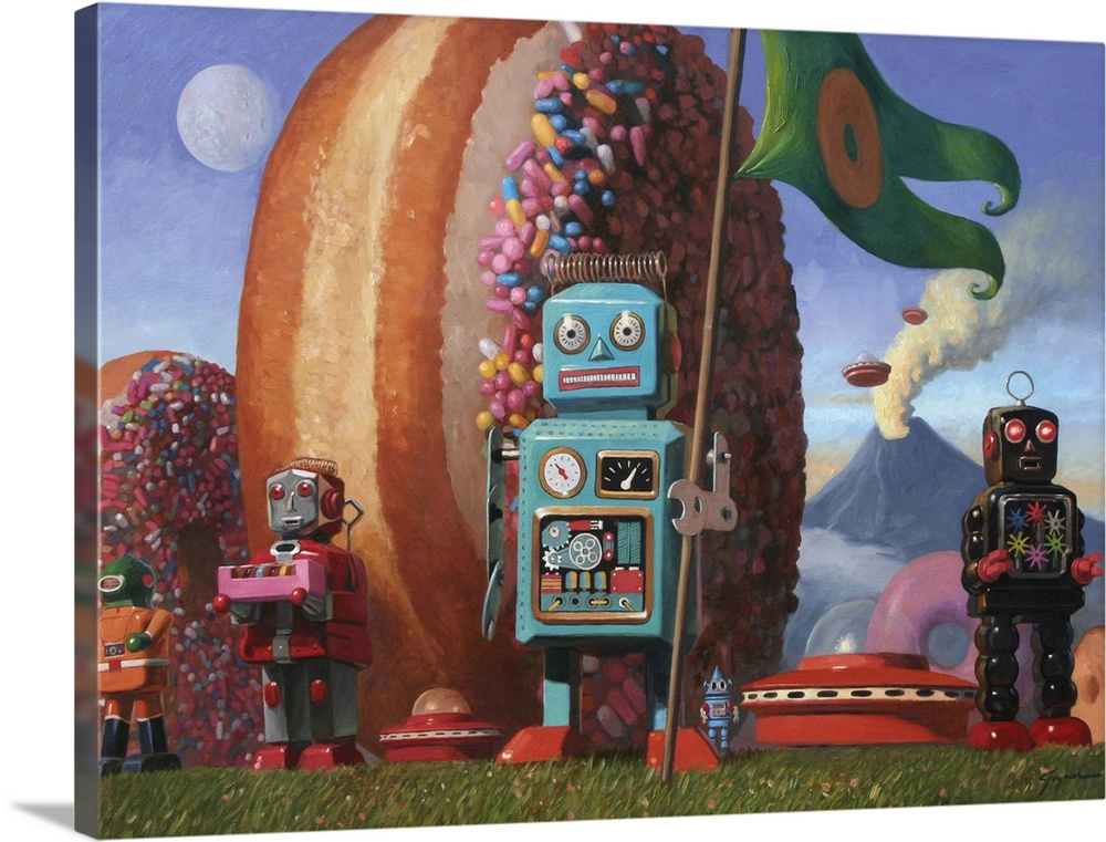 Large Solid-Faced Canvas Print Wall Art Print 40 x 30 entitled Landing Party VII Solid-Faced Canvas Print entitled Landing Party VII.  A contemporary painting of a blue retro toy robot holding a green flag with a donut on it while giant sprinkle donuts stand upright in the background.  Multiple sizes available.  Primary colors within this image include Peach, Sky Blue, Dark Gray, White.  Made in the USA.  All products come with a 365 day workmanship guarantee.  Inks used are latex-based and designed to last.  Canvas is handcrafted and made-to-order in the United States using high quality artist-grade canvas.  Canvas depth is 1.25 and includes a finished backing with pre-installed hanging hardware.