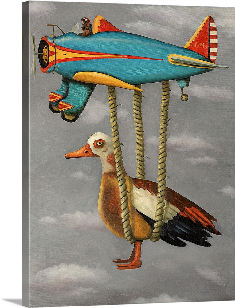 Large Solid-Faced Canvas Print Wall Art Print 30 x 40 entitled Lazy Bird Solid-Faced Canvas Print entitled Lazy Bird.  Surrealist painting of a duck being carried by a toy plane.  Multiple sizes available.  Primary colors within this image include Brown, Peach, Black, Light Gray.  Made in the USA.  Satisfaction guaranteed.  Inks used are latex-based and designed to last.  Archival inks prevent fading and preserve as much fine detail as possible with no over-saturation or color shifting.  Featuring a proprietary design, our canvases produce the tightest corners without any bubbles, ripples, or bumps and will not warp or sag over time.