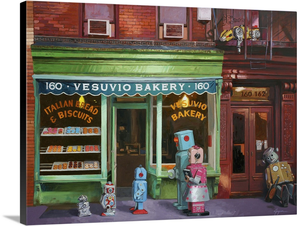 Large Solid-Faced Canvas Print Wall Art Print 40 x 30 entitled Lost And Found Solid-Faced Canvas Print entitled Lost And Found.  A contemporary painting of a retro toy robot family outside a bakery.  Multiple sizes available.  Primary colors within this image include Yellow, Light Green, Light Gray, Dark Forest Green.  Made in the USA.  Satisfaction guaranteed.  Archival-quality UV-resistant inks.  Canvas depth is 1.25 and includes a finished backing with pre-installed hanging hardware.  Archival inks prevent fading and preserve as much fine detail as possible with no over-saturation or color shifting.