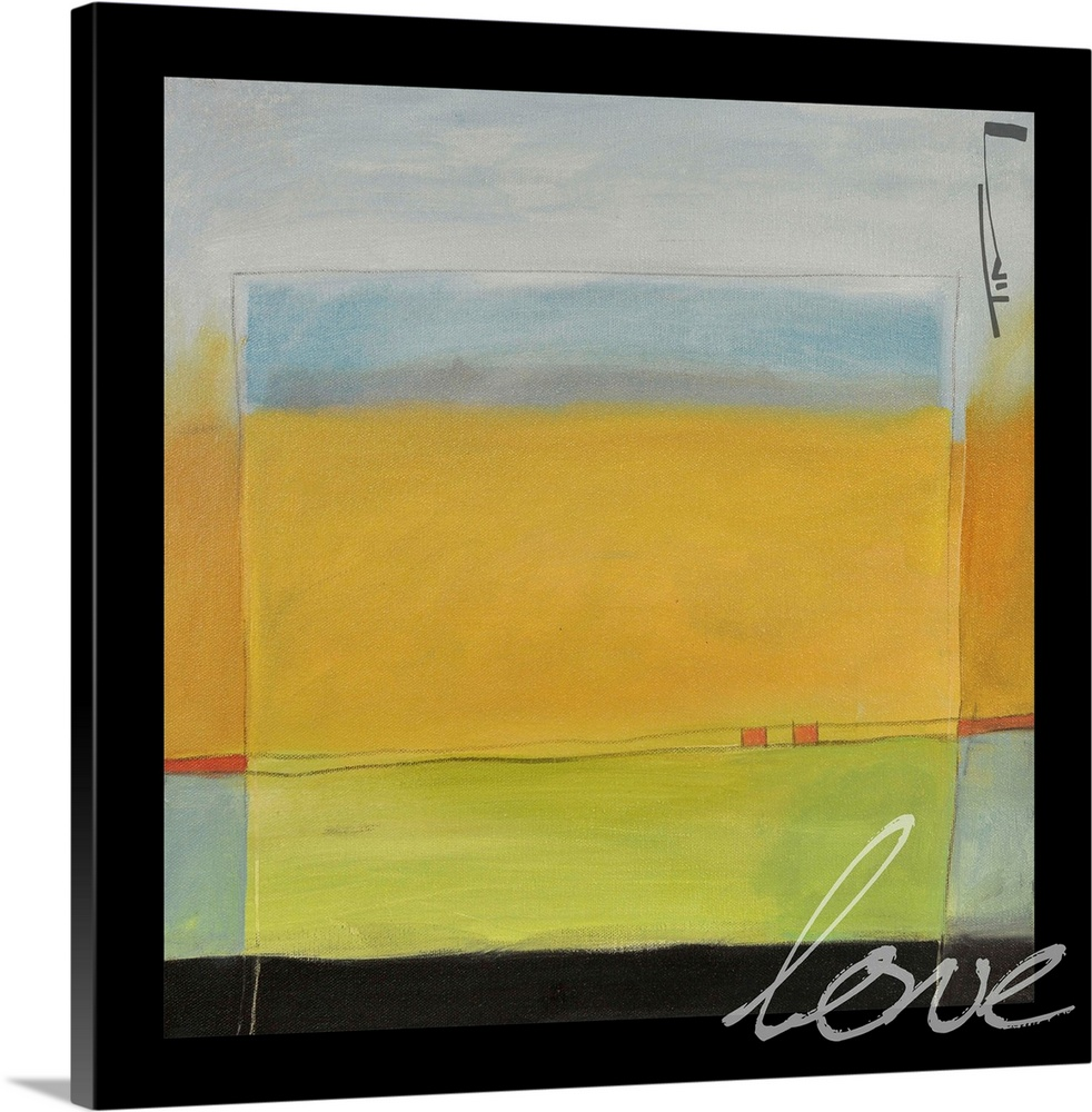 Large Solid-Faced Canvas Print Wall Art Print 20 x 20 entitled Love Solid-Faced Canvas Print entitled Love.  Multiple sizes available.  Primary colors within this image include Brown, Dark Yellow, Black, Silver.  Made in USA.  Satisfaction guaranteed.  Inks used are latex-based and designed to last.  Featuring a proprietary design, our canvases produce the tightest corners without any bubbles, ripples, or bumps and will not warp or sag over time.  Canvas is handcrafted and made-to-order in the United States using high quality artist-grade canvas.