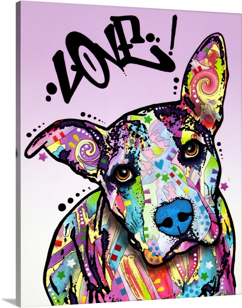 Large Solid-Faced Canvas Print Wall Art Print 24 x 30 entitled Love! Solid-Faced Canvas Print entitled Love.  dog, love.  Multiple sizes available.  Primary colors within this image include Yellow, Fuschia, Black, Silver.  Made in the USA.  Satisfaction guaranteed.  Archival-quality UV-resistant inks.  Archival inks prevent fading and preserve as much fine detail as possible with no over-saturation or color shifting.  Featuring a proprietary design, our canvases produce the tightest corners without any bubbles, ripples, or bumps and will not warp or sag over time.