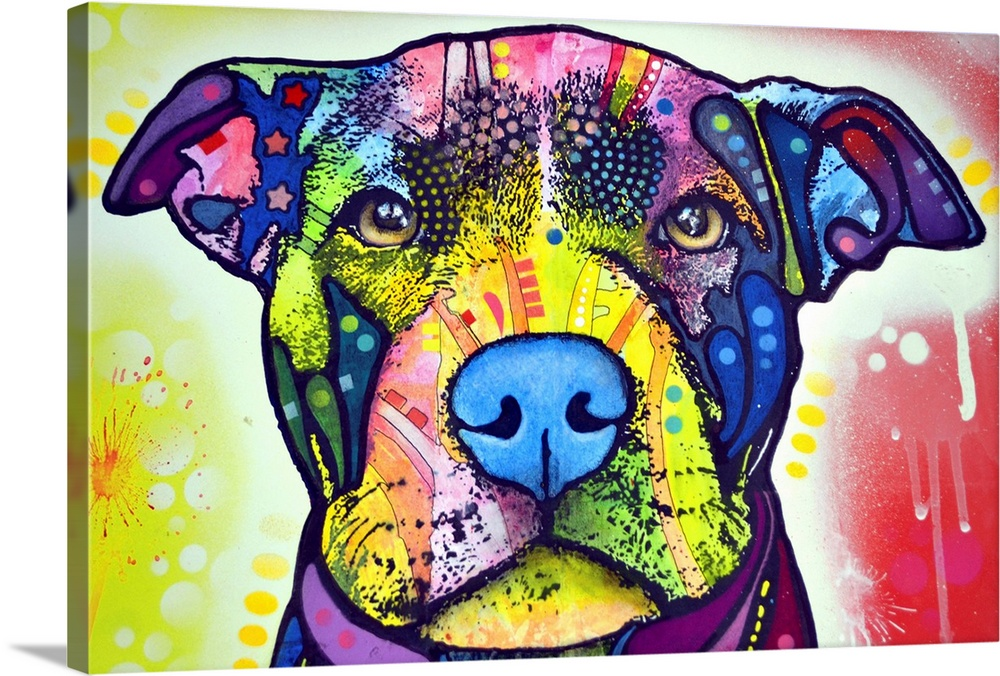 Large Solid-Faced Canvas Print Wall Art Print 30 x 20 entitled Love-A-Bull Solid-Faced Canvas Print entitled Love-A-Bull.  dog, Pit bull.  Multiple sizes available.  Primary colors within this image include Forest Green, Dark Blue, White, Royal Blue.  Made in USA.  Satisfaction guaranteed.  Archival-quality UV-resistant inks.  Canvas is handcrafted and made-to-order in the United States using high quality artist-grade canvas.  Archival inks prevent fading and preserve as much fine detail as possible with no over-saturation or color shifting.