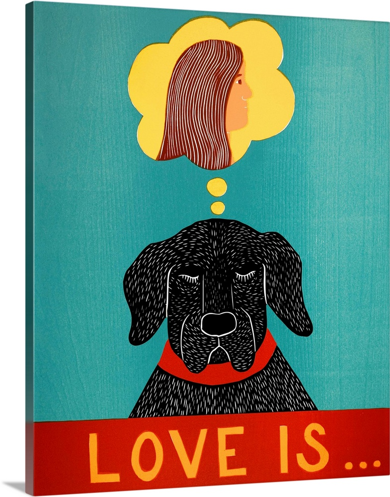 Large Solid-Faced Canvas Print Wall Art Print 24 x 30 entitled Love Is Dog Girl Black Solid-Faced Canvas Print entitled Love Is Dog Girl Black.  Multiple sizes available.  Primary colors within this image include Red, Brown, Light Yellow, Black.  Made in USA.  All products come with a 365 day workmanship guarantee.  Archival-quality UV-resistant inks.  Canvas is handcrafted and made-to-order in the United States using high quality artist-grade canvas.  Featuring a proprietary design, our canvases produce the tightest corners without any bubbles, ripples, or bumps and will not warp or sag over time.