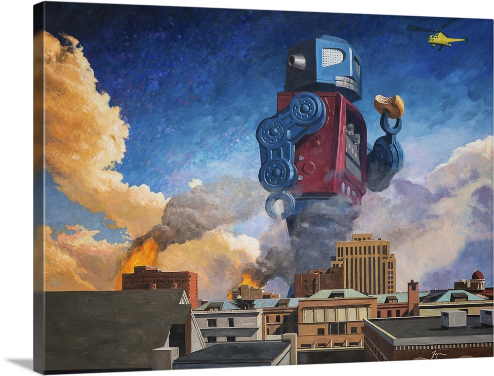Large Solid-Faced Canvas Print Wall Art Print 40 x 30 entitled Lunchtime Solid-Faced Canvas Print entitled Lunchtime.  A contemporary painting of a giant retro toy robot eating a donut and walking through a burning city.  Multiple sizes available.  Primary colors within this image include Orange, Light Gray, Muted Blue, Dark Forest Green.  Made in the USA.  Satisfaction guaranteed.  Inks used are latex-based and designed to last.  Canvas depth is 1.25 and includes a finished backing with pre-installed hanging hardware.  Canvas is handcrafted and made-to-order in the United States using high quality artist-grade canvas.