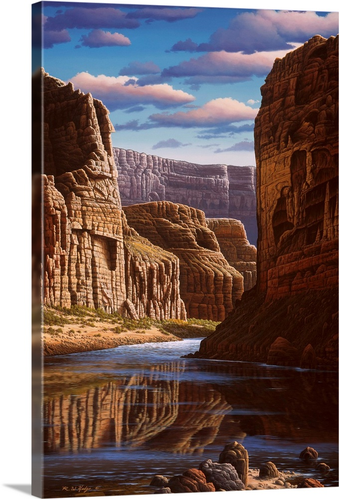Large Solid-Faced Canvas Print Wall Art Print 20 x 30 entitled Master Of Time Solid-Faced Canvas Print entitled Master Of Time.  Contemporary landscape painting of the Grand Canyon.  Multiple sizes available.  Primary colors within this image include Brown, Black, White, Gray Blue.  Made in USA.  Satisfaction guaranteed.  Archival-quality UV-resistant inks.  Featuring a proprietary design, our canvases produce the tightest corners without any bubbles, ripples, or bumps and will not warp or sag over time.  Canvas is handcrafted and made-to-order in the United States using high quality artist-grade canvas.