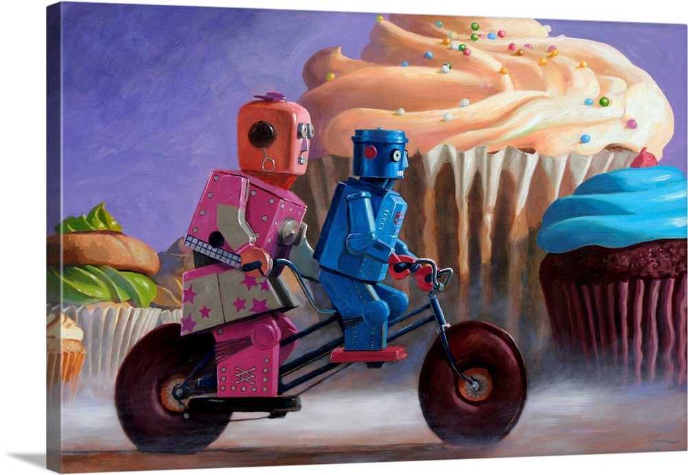 Large Solid-Faced Canvas Print Wall Art Print 30 x 20 entitled Misty Path Solid-Faced Canvas Print entitled Misty Path.  A contemporary painting of a two retro toy robots riding a tandem bicycle with giant colorful cupcakes seen in the background.  Multiple sizes available.  Primary colors within this image include Dark Blue, Peach, Black, Royal Blue.  Made in USA.  All products come with a 365 day workmanship guarantee.  Archival-quality UV-resistant inks.  Canvas depth is 1.25 and includes a finished backing with pre-installed hanging hardware.  Archival inks prevent fading and preserve as much fine detail as possible with no over-saturation or color shifting.