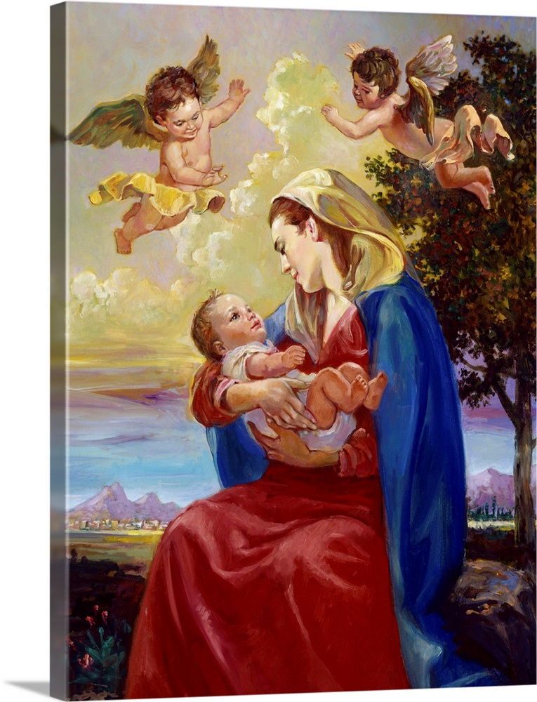 Large Gallery-Wrapped Canvas Wall Art Print 18 x 24 entitled Mother And Child Gallery-Wrapped Canvas entitled Mother And Child.  Two angels watch over Mary and Jesus.  Multiple sizes available.  Primary colors within this image include Dark Red Dark Blue Black Light Gray.  Made in the USA.  All products come with a 365 day workmanship guarantee.  Inks used are latex-based and designed to last.  Museum-quality artist-grade canvas mounted on sturdy wooden stretcher bars 1.5 thick.  Comes ready to hang.  Canvas is a 65 polyester 35 cotton base with two acrylic latex primer basecoats and a semi-gloss inkjet receptive topcoat.