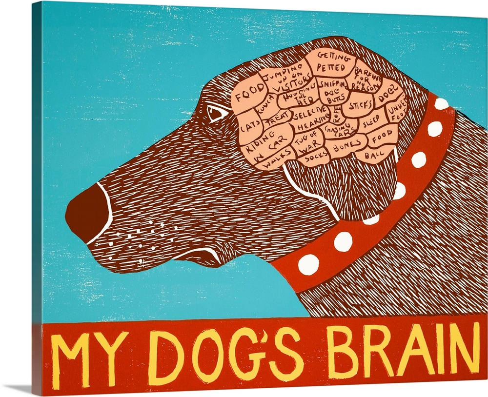 Large Solid-Faced Canvas Print Wall Art Print 30 x 24 entitled My Dogs Brain Choc Solid-Faced Canvas Print entitled My Dogs Brain Choc.  Illustration of a chocolate lab displaying its brain sectioned out into categories of things it thinks about with My Dogs Brain written at the bottom.  Multiple sizes available.  Primary colors within this image include Red, Brown, Peach, Light Yellow.  Made in USA.  Satisfaction guaranteed.  Inks used are latex-based and designed to last.  Canvas is handcrafted and made-to-order in the United States using high quality artist-grade canvas.  Canvas depth is 1.25 and includes a finished backing with pre-installed hanging hardware.