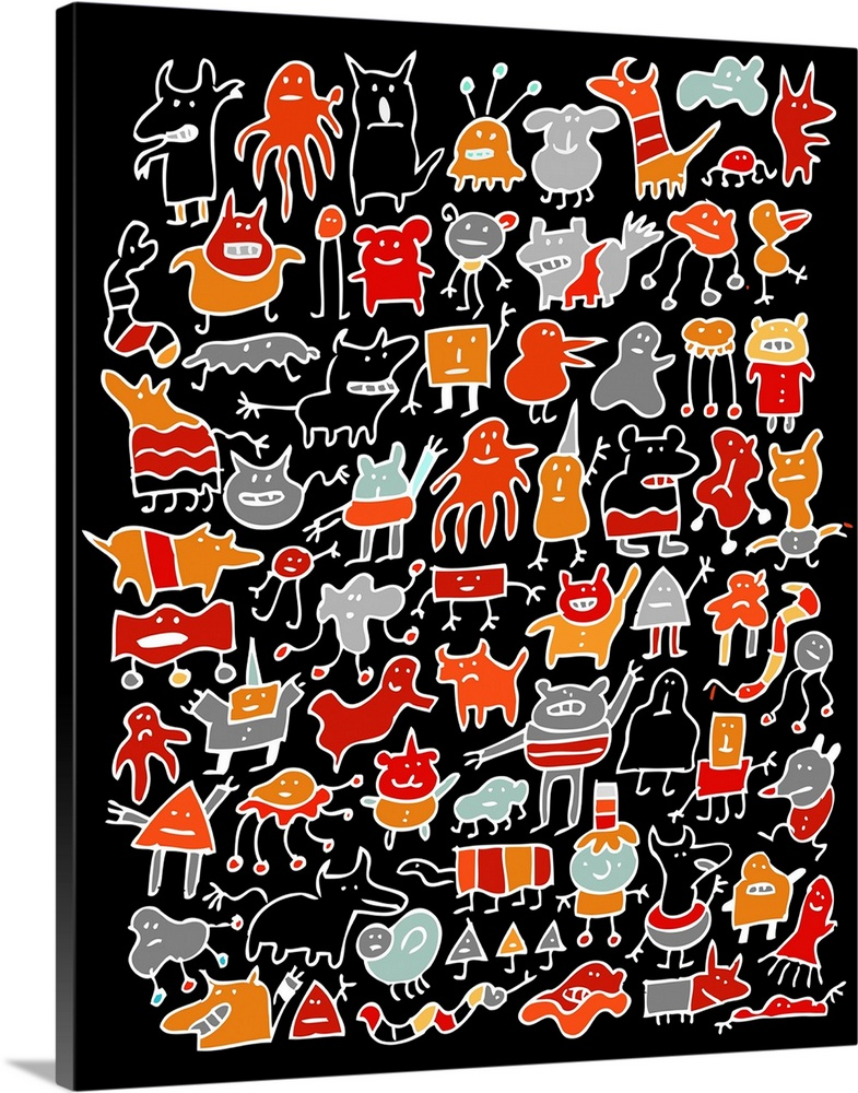 Large Solid-Faced Canvas Print Wall Art Print 24 x 30 entitled Night Time Monster Friends Solid-Faced Canvas Print entitled Night Time Monster Friends.  Night Time Monster Friends.  Multiple sizes available.  Primary colors within this image include Red, Orange, Peach, Black.  Made in USA.  All products come with a 365 day workmanship guarantee.  Archival-quality UV-resistant inks.  Featuring a proprietary design, our canvases produce the tightest corners without any bubbles, ripples, or bumps and will not warp or sag over time.  Archival inks prevent fading and preserve as much fine detail as possible with no over-saturation or color shifting.