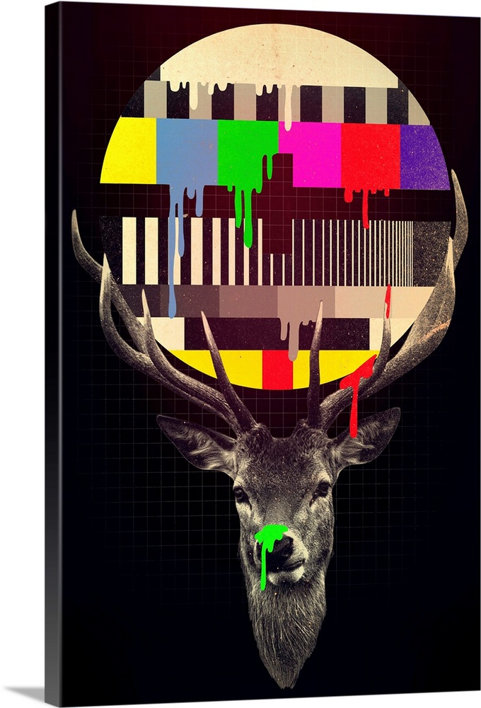 Large Gallery-Wrapped Canvas Wall Art Print 16 x 24 entitled No Signal Gallery-Wrapped Canvas entitled No Signal.  Pop art of a deer with a television color test pattern dripping painting in its antlers.  Multiple sizes available.  Primary colors within this image include Red, Yellow, Fuschia, Black.  Made in the USA.  All products come with a 365 day workmanship guarantee.  Inks used are latex-based and designed to last.  Canvas is acid-free and 20 millimeters thick.  Canvases are stretched across a 1.5 inch thick wooden frame with easy-to-mount hanging hardware.