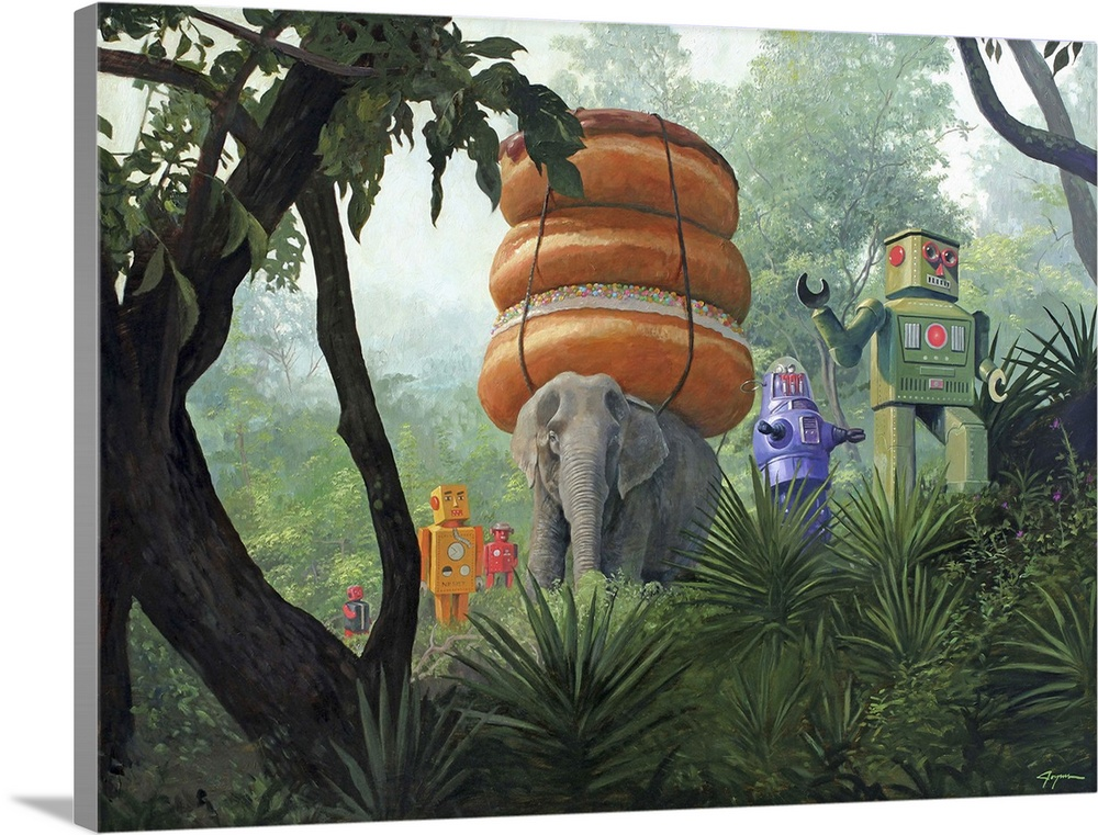 Large Solid-Faced Canvas Print Wall Art Print 40 x 30 entitled On Tiger Mountain Solid-Faced Canvas Print entitled On Tiger Mountain.  A contemporary painting of a surreal scene of retro toy robots walking through a jungle with an elephant carrying a stack of three giant donuts on its back.  Multiple sizes available.  Primary colors within this image include Brown, Light Gray, White, Dark Forest Green.  Made in USA.  All products come with a 365 day workmanship guarantee.  Archival-quality UV-resistant inks.  Canvas is handcrafted and made-to-order in the United States using high quality artist-grade canvas.  Archival inks prevent fading and preserve as much fine detail as possible with no over-saturation or color shifting.