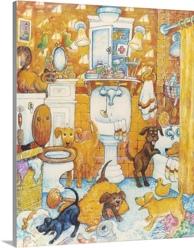 Solid-Faced Canvas Print Wall Art entitled arancia Bathroom Pups
