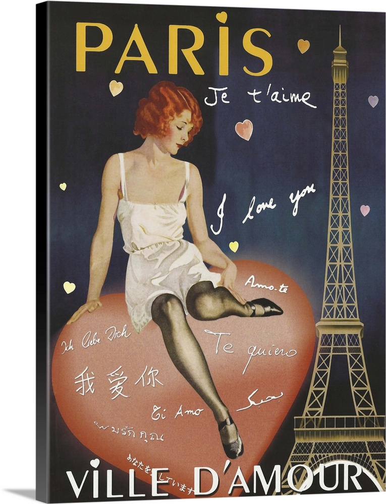 Large Solid-Faced Canvas Print Wall Art Print 18 x 24 entitled Paris I Love You - Vintage Cabaret Advertisement Solid-Faced Canvas Print entitled Paris I Love You - Vintage Cabaret Advertisement.  Paris I Love You, Ville DAmour, vintage Paris poster.  Multiple sizes available.  Primary colors within this image include Pink, Light Yellow, Dark Gray, White.  Made in the USA.  Satisfaction guaranteed.  Inks used are latex-based and designed to last.  Archival inks prevent fading and preserve as much fine detail as possible with no over-saturation or color shifting.  Featuring a proprietary design, our canvases produce the tightest corners without any bubbles, ripples, or bumps and will not warp or sag over time.