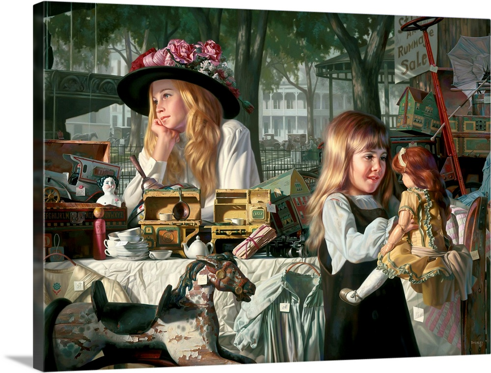 Large Solid-Faced Canvas Print Wall Art Print 40 x 30 entitled Passages Solid-Faced Canvas Print entitled Passages.  Two girls with their toys and doll.  Multiple sizes available.  Primary colors within this image include Brown, Black, Gray, White.  Made in the USA.  Satisfaction guaranteed.  Inks used are latex-based and designed to last.  Featuring a proprietary design, our canvases produce the tightest corners without any bubbles, ripples, or bumps and will not warp or sag over time.  Canvas is handcrafted and made-to-order in the United States using high quality artist-grade canvas.