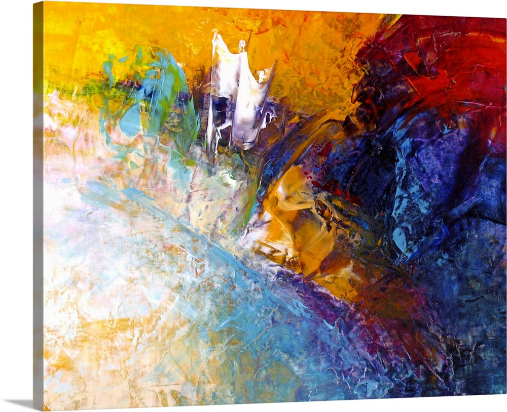 Large Solid-Faced Canvas Print Wall Art Print 30 x 24 entitled Path to Freedom Solid-Faced Canvas Print entitled Path to Freedom.  Contemporary abstract painting using wild and vibrant splashes of color.  Multiple sizes available.  Primary colors within this image include Orange, Dark Yellow, Black, White.  Made in the USA.  All products come with a 365 day workmanship guarantee.  Inks used are latex-based and designed to last.  Archival inks prevent fading and preserve as much fine detail as possible with no over-saturation or color shifting.  Canvas depth is 1.25 and includes a finished backing with pre-installed hanging hardware.