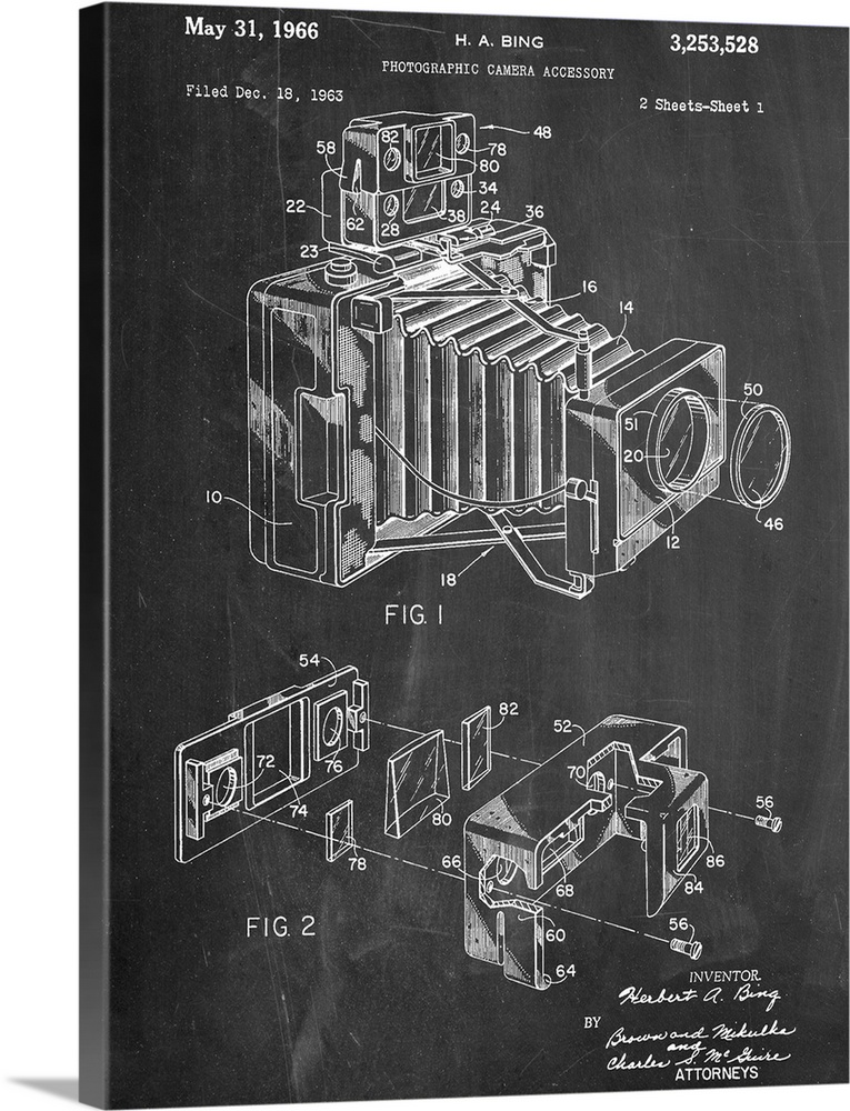 Large Solid-Faced Canvas Print Wall Art Print 30 x 40 entitled Photographic Camera Solid-Faced Canvas Print entitled Photographic Camera.  Black and white diagram showing the parts of a vintage camera.  Multiple sizes available.  Primary colors within this image include Dark Gray, Silver.  Made in the USA.  All products come with a 365 day workmanship guarantee.  Inks used are latex-based and designed to last.  Archival inks prevent fading and preserve as much fine detail as possible with no over-saturation or color shifting.  Canvas is handcrafted and made-to-order in the United States using high quality artist-grade canvas.