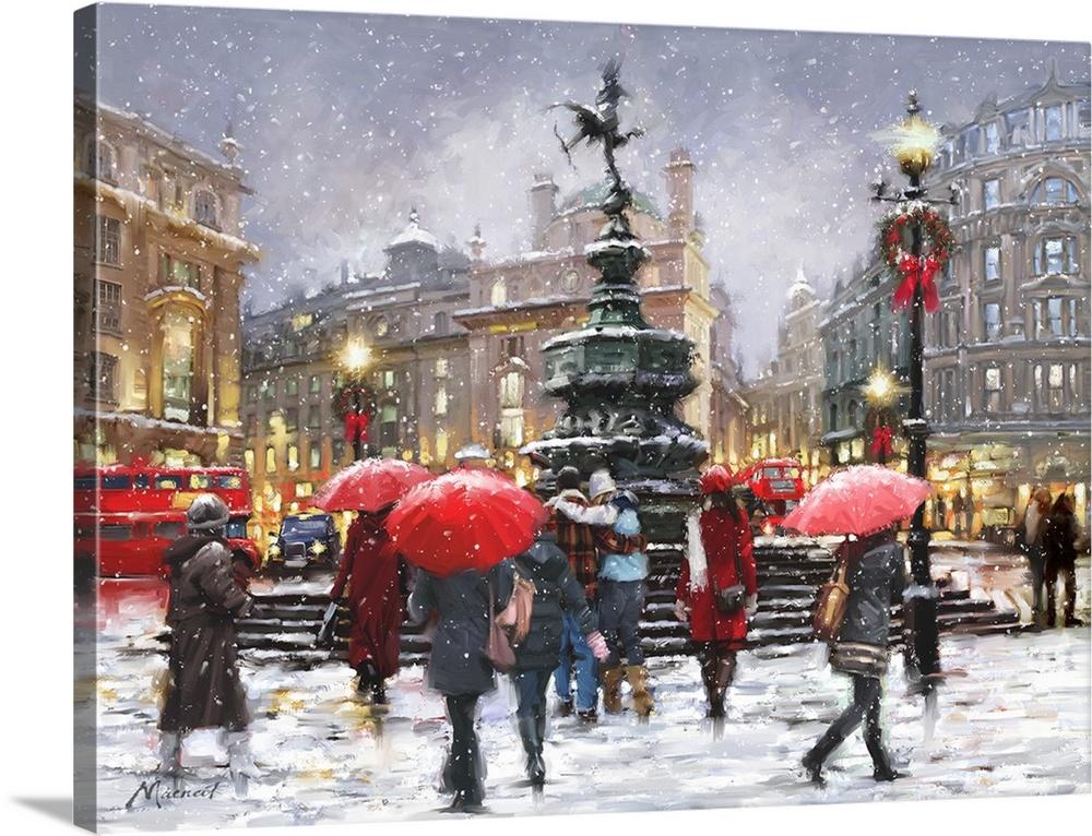 Canvas Kunst Drucken  Picadilly In Snow Landscape