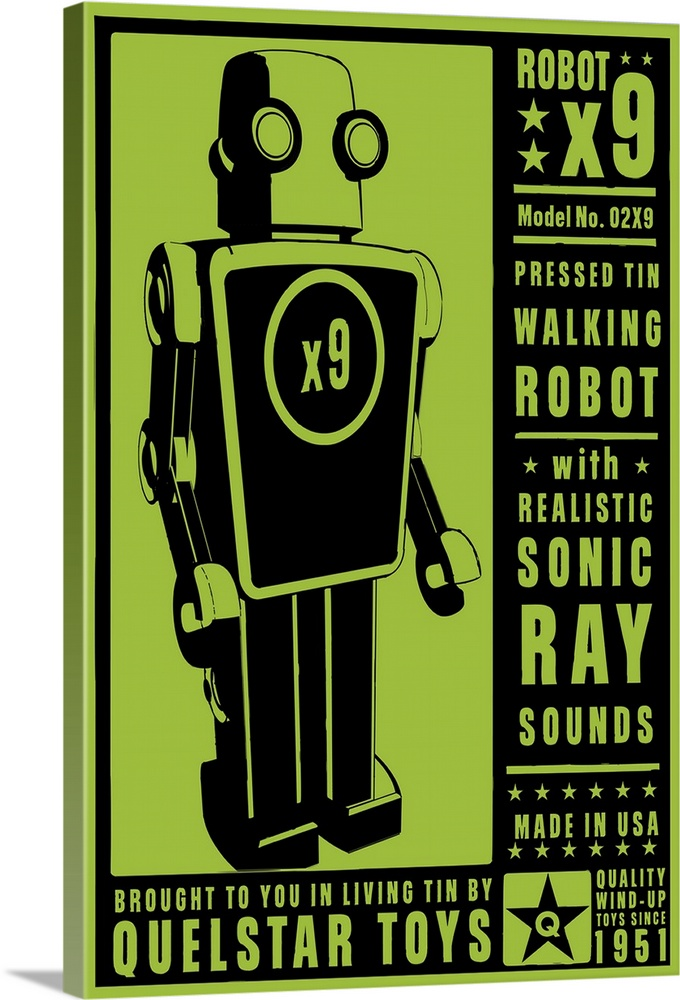 Large Solid-Faced Canvas Print Wall Art Print 20 x 30 entitled Quelstar X9 Tin Toy Robot Solid-Faced Canvas Print entitled Quelstar X9 Tin Toy Robot.  Multiple sizes available.  Primary colors within this image include Black, Dark Forest Green, Lime Green.  Made in the USA.  Satisfaction guaranteed.  Archival-quality UV-resistant inks.  Canvas is handcrafted and made-to-order in the United States using high quality artist-grade canvas.  Featuring a proprietary design, our canvases produce the tightest corners without any bubbles, ripples, or bumps and will not warp or sag over time.