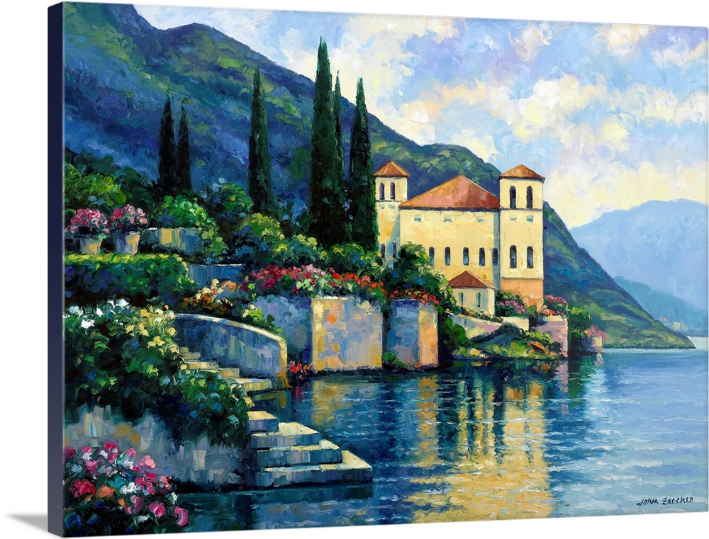 Solid-Faced Canvas Print Wall Art entitled Reflections Of Lago Maggiore
