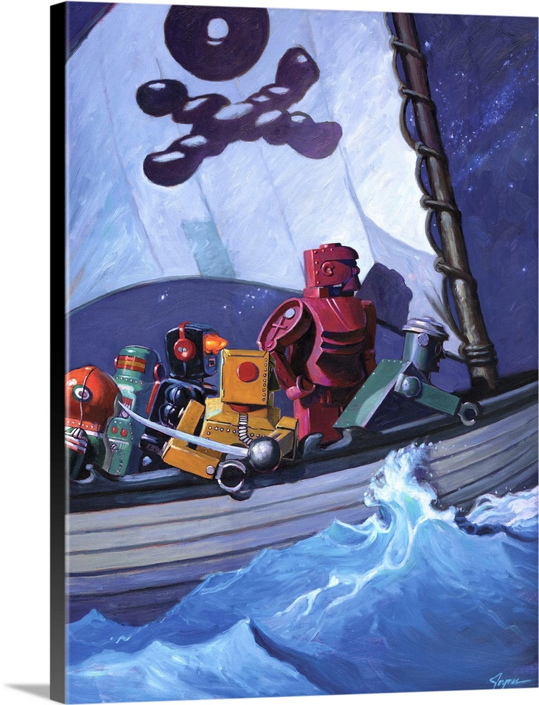 Large Solid-Faced Canvas Print Wall Art Print 30 x 40 entitled Robo Pirates CMYK Solid-Faced Canvas Print entitled Robo Pirates CMYK.  A contemporary painting of a pirate ship with different colored retro toy robots sailing the high seas.  Multiple sizes available.  Primary colors within this image include Pink, Peach, Sky Blue, Muted Blue.  Made in USA.  Satisfaction guaranteed.  Inks used are latex-based and designed to last.  Archival inks prevent fading and preserve as much fine detail as possible with no over-saturation or color shifting.  Canvas is handcrafted and made-to-order in the United States using high quality artist-grade canvas.