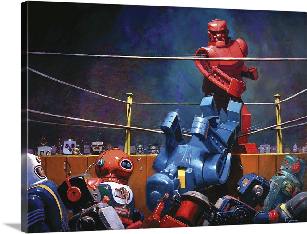 Large Solid-Faced Canvas Print Wall Art Print 40 x 30 entitled Roc Sock Solid-Faced Canvas Print entitled Roc Sock.  A contemporary painting of a giant retro toy robot boxing match.  Multiple sizes available.  Primary colors within this image include Dark Red, Dark Gray, Silver, Royal Blue.  Made in USA.  Satisfaction guaranteed.  Inks used are latex-based and designed to last.  Archival inks prevent fading and preserve as much fine detail as possible with no over-saturation or color shifting.  Featuring a proprietary design, our canvases produce the tightest corners without any bubbles, ripples, or bumps and will not warp or sag over time.
