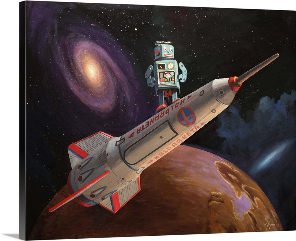 Large Solid-Faced Canvas Print Wall Art Print 30 x 24 entitled Rocket Surfer Solid-Faced Canvas Print entitled Rocket Surfer.  A contemporary painting of a mint green retro toy robot standing on a rocket ship with an outer space background.  Multiple sizes available.  Primary colors within this image include Dark Red, Brown, Dark Gray, Silver.  Made in the USA.  All products come with a 365 day workmanship guarantee.  Inks used are latex-based and designed to last.  Archival inks prevent fading and preserve as much fine detail as possible with no over-saturation or color shifting.  Canvas depth is 1.25 and includes a finished backing with pre-installed hanging hardware.