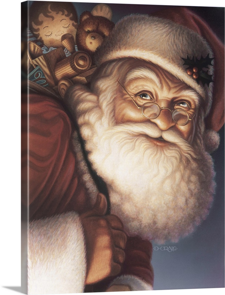 Large Solid-Faced Canvas Print Wall Art Print 18 x 24 entitled Santa Solid-Faced Canvas Print entitled Santa.  Santa close-up with a sack of toys on his back.  Multiple sizes available.  Primary colors within this image include Dark Gray, White.  Made in the USA.  Satisfaction guaranteed.  Archival-quality UV-resistant inks.  Canvas depth is 1.25 and includes a finished backing with pre-installed hanging hardware.  Archival inks prevent fading and preserve as much fine detail as possible with no over-saturation or color shifting.