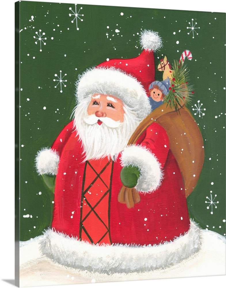 Large Solid-Faced Canvas Print Wall Art Print 24 x 30 entitled Santa holding a sack of toys Solid-Faced Canvas Print entitled Santa holding a sack of toys.  Multiple sizes available.  Primary colors within this image include Red, Pink, White, Dark Forest Green.  Made in the USA.  All products come with a 365 day workmanship guarantee.  Archival-quality UV-resistant inks.  Canvas is handcrafted and made-to-order in the United States using high quality artist-grade canvas.  Canvas depth is 1.25 and includes a finished backing with pre-installed hanging hardware.