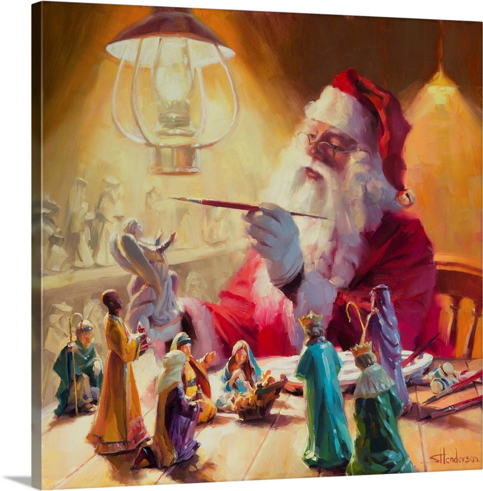 Large Solid-Faced Canvas Print Wall Art Print 20 x 20 entitled Santa More Than Toys Solid-Faced Canvas Print entitled Santa More Than Toys.  Multiple sizes available.  Primary colors within this image include Dark Red, Brown, Peach, Teal.  Made in the USA.  All products come with a 365 day workmanship guarantee.  Inks used are latex-based and designed to last.  Archival inks prevent fading and preserve as much fine detail as possible with no over-saturation or color shifting.  Canvas depth is 1.25 and includes a finished backing with pre-installed hanging hardware.