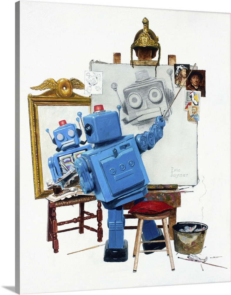 Large Solid-Faced Canvas Print Wall Art Print 24 x 30 entitled Selfie Solid-Faced Canvas Print entitled Selfie.  A contemporary painting of a blue retro toy robot painting himself while looking into a mirror recreating a famous painting.  Multiple sizes available.  Primary colors within this image include Brown, Peach, Sky Blue, White.  Made in the USA.  Satisfaction guaranteed.  Archival-quality UV-resistant inks.  Canvas depth is 1.25 and includes a finished backing with pre-installed hanging hardware.  Featuring a proprietary design, our canvases produce the tightest corners without any bubbles, ripples, or bumps and will not warp or sag over time.