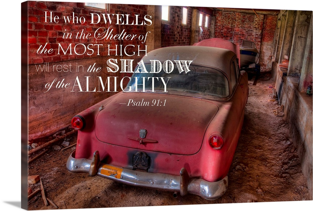 Large Solid-Faced Canvas Print Wall Art Print 30 x 20 entitled Shadow of the Mighty Solid-Faced Canvas Print entitled Shadow of the Mighty.  Photograph of an old red Ford with a Bible passage.  Multiple sizes available.  Primary colors within this image include Dark Red, Black, Gray, White.  Made in the USA.  All products come with a 365 day workmanship guarantee.  Archival-quality UV-resistant inks.  Canvas is handcrafted and made-to-order in the United States using high quality artist-grade canvas.  Archival inks prevent fading and preserve as much fine detail as possible with no over-saturation or color shifting.