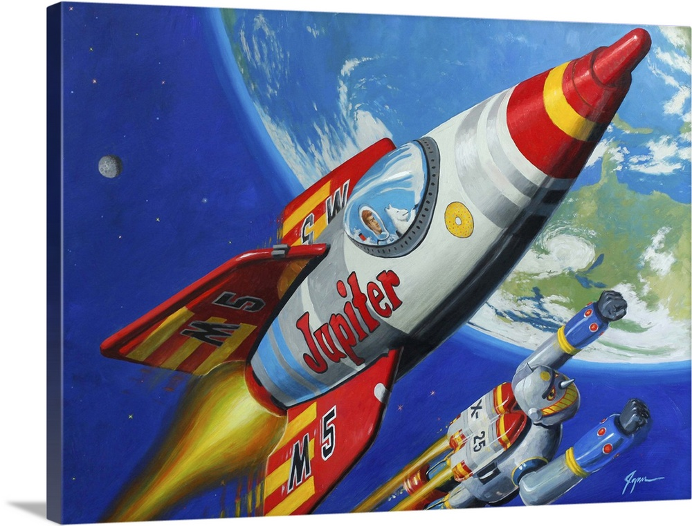 Large Solid-Faced Canvas Print Wall Art Print 40 x 30 entitled Space Patrol II Solid-Faced Canvas Print entitled Space Patrol II.  A contemporary painting of a retro toy rocket chip and robot flying through space with the planet earth seen in the background.  Multiple sizes available.  Primary colors within this image include Dark Red, Brown, Dark Blue, Light Yellow.  Made in USA.  Satisfaction guaranteed.  Archival-quality UV-resistant inks.  Featuring a proprietary design, our canvases produce the tightest corners without any bubbles, ripples, or bumps and will not warp or sag over time.  Canvas is handcrafted and made-to-order in the United States using high quality artist-grade canvas.