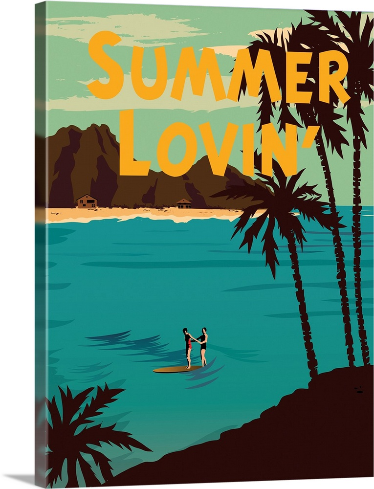 Large Solid-Faced Canvas Print Wall Art Print 30 x 40 entitled Summer Loving Solid-Faced Canvas Print entitled Summer Loving.  Summer Loving, beach, travel.  Multiple sizes available.  Primary colors within this image include Orange, Peach, Black, Teal.  Made in the USA.  All products come with a 365 day workmanship guarantee.  Inks used are latex-based and designed to last.  Featuring a proprietary design, our canvases produce the tightest corners without any bubbles, ripples, or bumps and will not warp or sag over time.  Canvas depth is 1.25 and includes a finished backing with pre-installed hanging hardware.