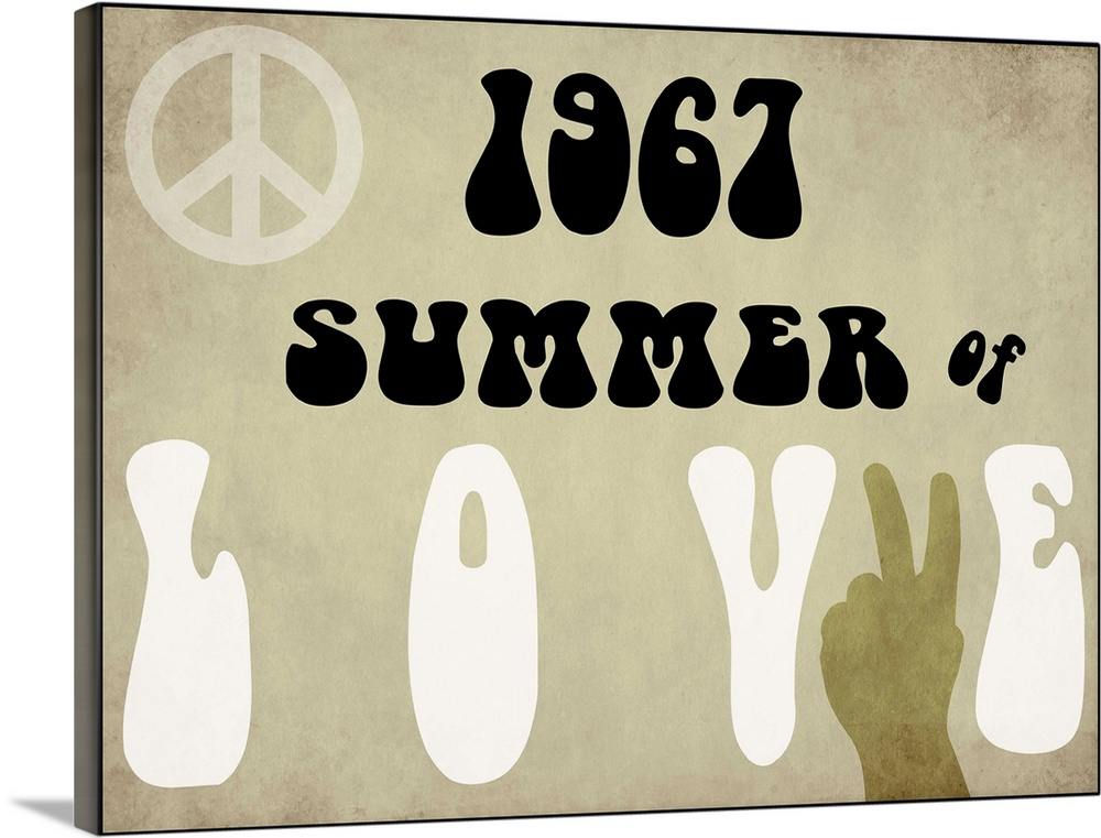 Large Solid-Faced Canvas Print Wall Art Print 40 x 30 entitled Summer of Love Solid-Faced Canvas Print entitled Summer of Love.  Vintage Newspaper headlines.  Multiple sizes available.  Primary colors within this image include Peach, Black, White.  Made in USA.  Satisfaction guaranteed.  Archival-quality UV-resistant inks.  Featuring a proprietary design, our canvases produce the tightest corners without any bubbles, ripples, or bumps and will not warp or sag over time.  Canvas is handcrafted and made-to-order in the United States using high quality artist-grade canvas.