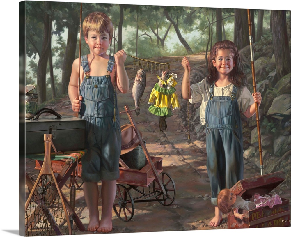 Large Gallery-Wrapped Canvas Wall Art Print 20 x 16 entitled Summer Snapshot Gallery-Wrapped Canvas entitled Summer Snapshot.  boy and girl gone fishing, with their catch, fish in doll clothes.  Multiple sizes available.  Primary colors within this image include Dark Gray, Light Gray.  Made in the USA.  Satisfaction guaranteed.  Inks used are latex-based and designed to last.  Canvases are stretched across a 1.5 inch thick wooden frame with easy-to-mount hanging hardware.  Canvas is designed to prevent fading.