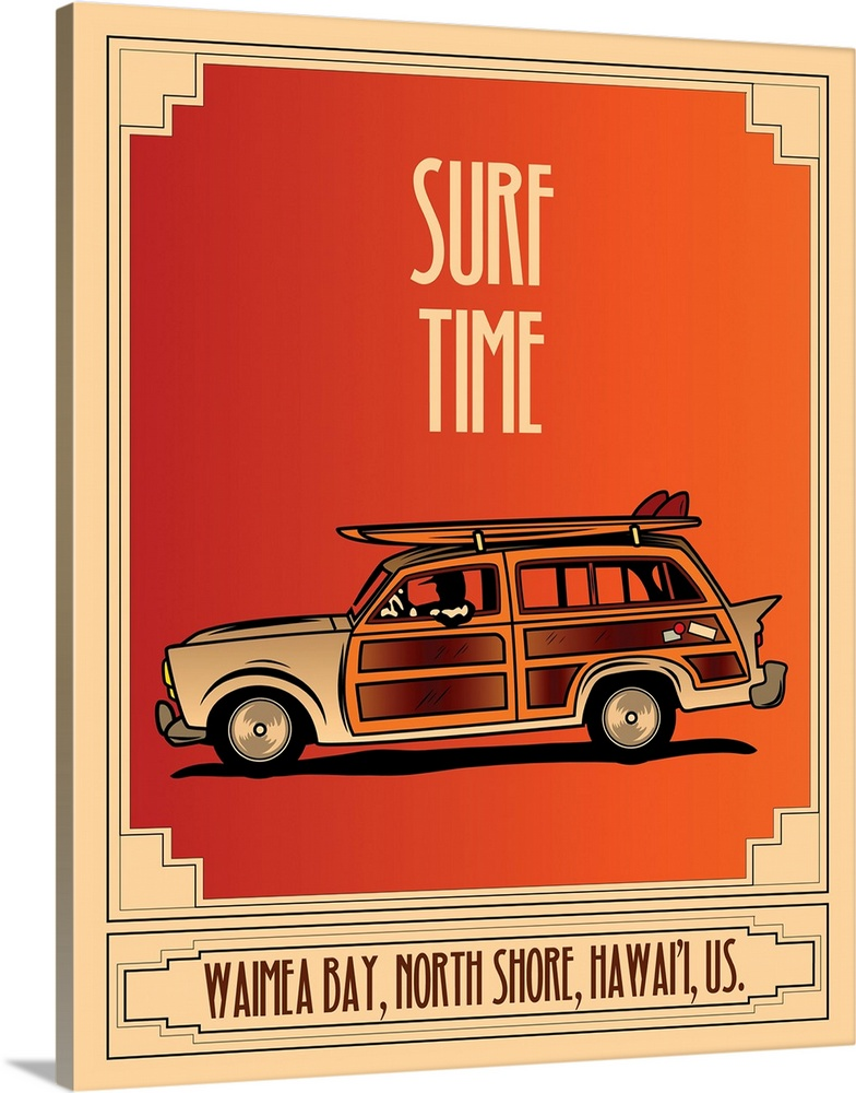 Large Solid-Faced Canvas Print Wall Art Print 24 x 30 entitled Surf Time Solid-Faced Canvas Print entitled Surf Time.  Surf Time, woody car, surfboard, travel.  Multiple sizes available.  Primary colors within this image include Orange, Brown, Peach, Black.  Made in USA.  Satisfaction guaranteed.  Inks used are latex-based and designed to last.  Archival inks prevent fading and preserve as much fine detail as possible with no over-saturation or color shifting.  Featuring a proprietary design, our canvases produce the tightest corners without any bubbles, ripples, or bumps and will not warp or sag over time.