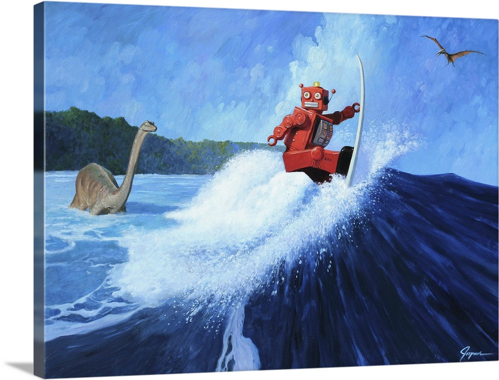 Large Solid-Faced Canvas Print Wall Art Print 40 x 30 entitled Surfer Joe Solid-Faced Canvas Print entitled Surfer Joe.  A contemporary painting of a red retro toy robot surfing a giant wave while dinosaurs are seen in the background.  Multiple sizes available.  Primary colors within this image include Pink, Pale Blue, Royal Blue, Dark Navy Blue.  Made in the USA.  All products come with a 365 day workmanship guarantee.  Inks used are latex-based and designed to last.  Canvas depth is 1.25 and includes a finished backing with pre-installed hanging hardware.  Featuring a proprietary design, our canvases produce the tightest corners without any bubbles, ripples, or bumps and will not warp or sag over time.