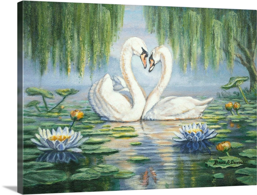 Large Solid-Faced Canvas Print Wall Art Print 24 x 18 entitled Swan Love Solid-Faced Canvas Print entitled Swan Love.  Contemporary painting of two swans under willow trees among lily pads, forming a heart with their necks.  Multiple sizes available.  Primary colors within this image include Peach, Muted Blue, Dark Forest Green, Light Gray Blue.  Made in USA.  Satisfaction guaranteed.  Inks used are latex-based and designed to last.  Canvas is handcrafted and made-to-order in the United States using high quality artist-grade canvas.  Featuring a proprietary design, our canvases produce the tightest corners without any bubbles, ripples, or bumps and will not warp or sag over time.