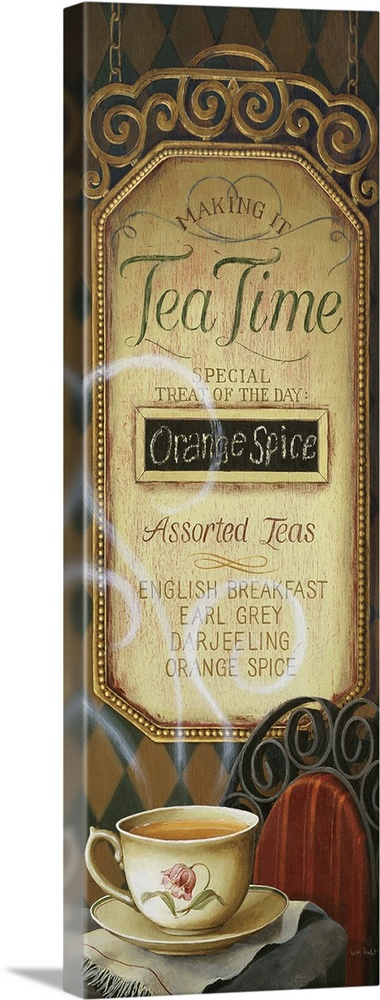 Large Solid-Faced Canvas Print Wall Art Print 16 x 48 entitled Tea Time Menu Solid-Faced Canvas Print entitled Tea Time Menu.  Multiple sizes available.  Primary colors within this image include Gray, Silver, Dark Forest Green.  Made in the USA.  Satisfaction guaranteed.  Inks used are latex-based and designed to last.  Archival inks prevent fading and preserve as much fine detail as possible with no over-saturation or color shifting.  Canvas depth is 1.25 and includes a finished backing with pre-installed hanging hardware.