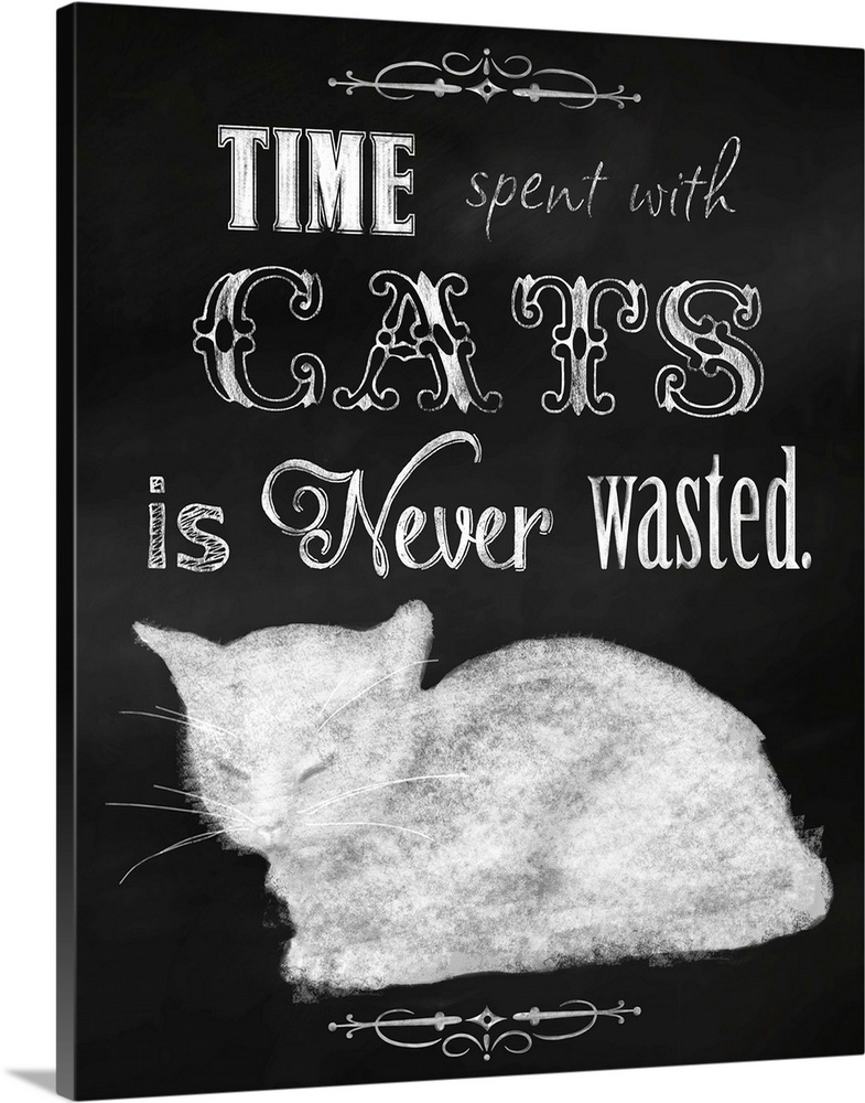 Large Solid-Faced Canvas Print Wall Art Print 24 x 30 entitled Time Spent With Cats Solid-Faced Canvas Print entitled Time Spent With Cats.  Multiple sizes available.  Primary colors within this image include Black, Silver.  Made in USA.  All products come with a 365 day workmanship guarantee.  Archival-quality UV-resistant inks.  Archival inks prevent fading and preserve as much fine detail as possible with no over-saturation or color shifting.  Featuring a proprietary design, our canvases produce the tightest corners without any bubbles, ripples, or bumps and will not warp or sag over time.